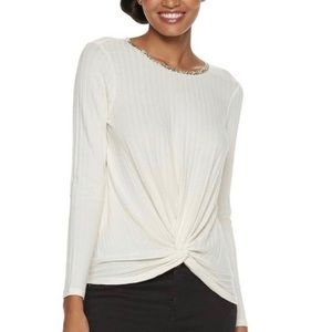 Juicy Couture Front Knot Ivory Jeweled Top